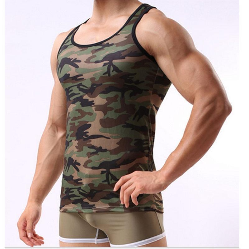 Camouflage mehed tank top brändi lycra kulturismi fitness singlets - Meeste riided - Foto 3