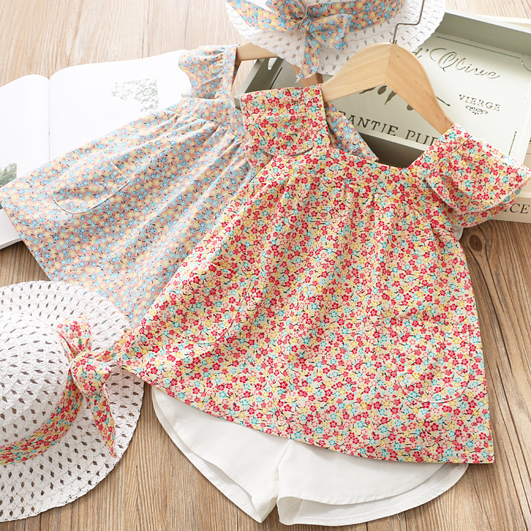Children Sets Print floral Jumper tops with Cotton Short pants Princess Baby Sets 2019 Summer Kids Girl 2PCS Outfits clothes