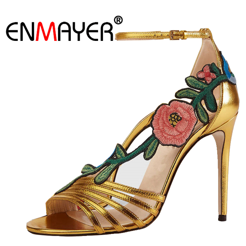 Enmayer Hebilla Abierto Cr41 Tacón Pie Black Bolso gold Dedo Del Sandalias Moda De Tacones Alto Zapatos Mujer Metal Verano Bordar Correa Delgados rwrHxZFq