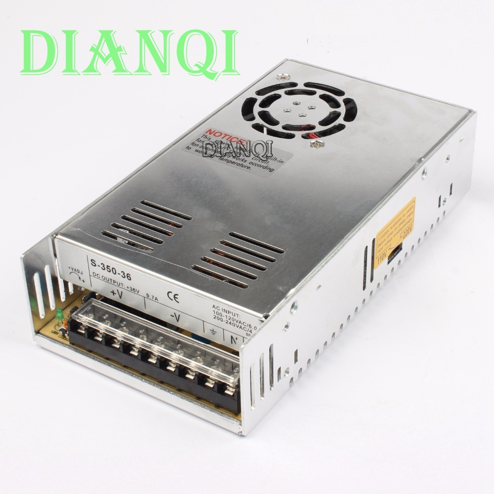 DIANQI Led power supply switch 350W 36V 9.7A ac dc converter S-350w 36v variable ac to dc voltage regulator S-350-36 dianqi led power supply switch 350w 24v 14 6a ac dc converter s 350w 24v variable dc voltage regulator s 350 24