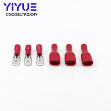 100Pcs/50Pairs 6.3mm 22-16AWG Female Male Electrical Wiring Connector Insulated Crimp Terminal Spade Red FDD 1.25-250 MDD1.25-25