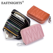 EASTNIGHTS Lady Credit Card Holder Genuine Leather Women Fashion Bank ID Holders Female Zipper Fold Wallet Coin Purse