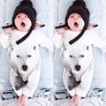 Macacão de Bebê recém-nascido Menino Lobo Branco Terno Arco Roupas de Lazer Terno Do Corpo Da Criança Macacão de Bebê Meninos Roupas de Marca