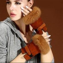 Suede Genuine Leather Gloves Woman Half Finger Autumn /Winter Plus Cashmere Thick Warm Cute Rabbit Hair Students  MK17-5