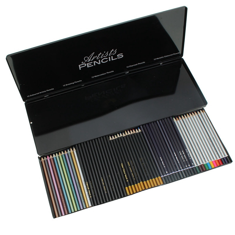60pcs Iron Boxed Professional Colored Pencils Colored and Black Color Painting Pencils For Drawing Sketching Pencil Art Supplies architecture hand painting creation and techniques a master s art course of live sketching