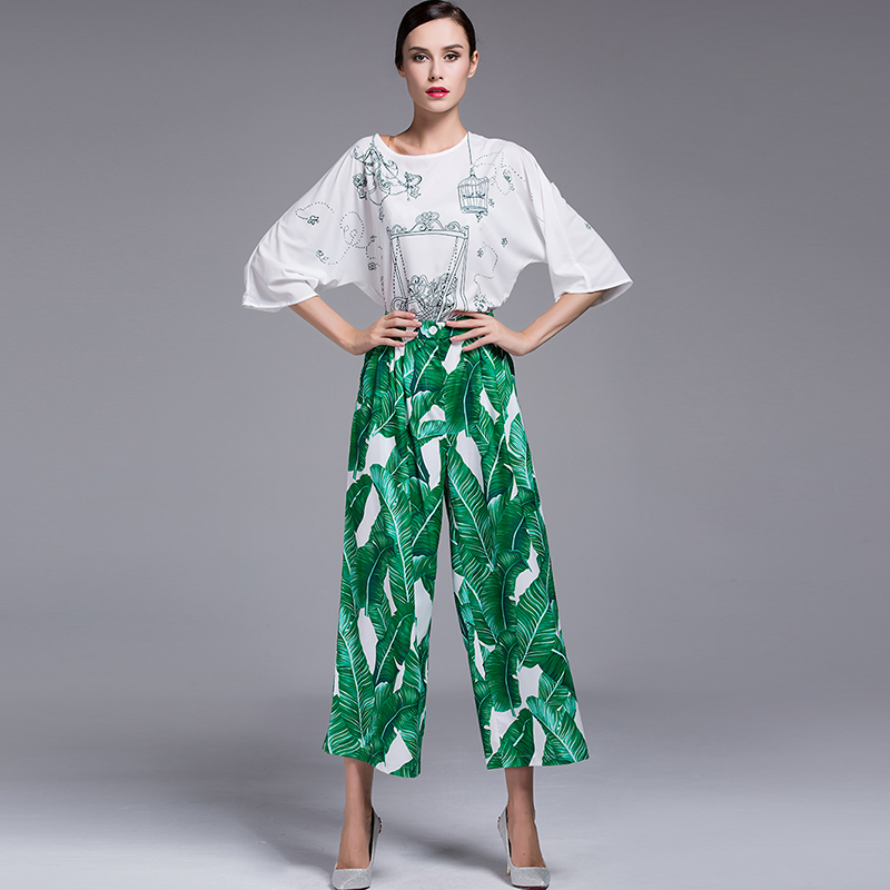 2017 сезон: весна–лето женские знаменитости Ретро Винтаж Высокая талия взлетно посадочной полосы моды зеленый лист печати Широкие брюки - 2