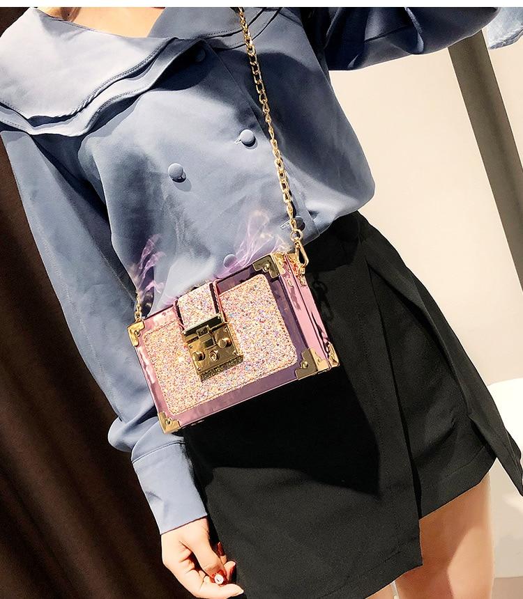 Moda de luxo gradiente cor lantejoulas caixa