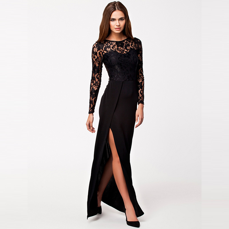 de810a567fd Plus size sexy black lace long sleeve elegant party dress summer patchwork  fashion high waist side slit maxi dress for women XXL