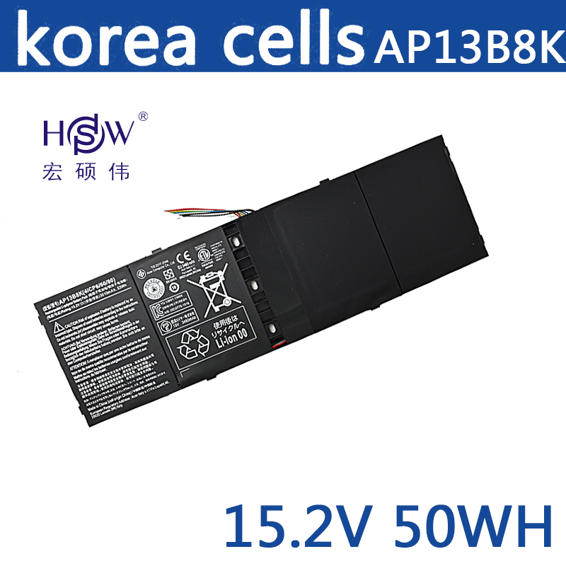 HSW New genius 15.2V 53Wh 3510mAh AP13B8K Battery For Acer Aspire V5 M5-583P V5-572P V5-572G 4ICP6/60/78 bateria akku 14 touch glass screen digitizer lcd panel display assembly panel for acer aspire v5 471 v5 471p v5 471pg v5 431p v5 431pg