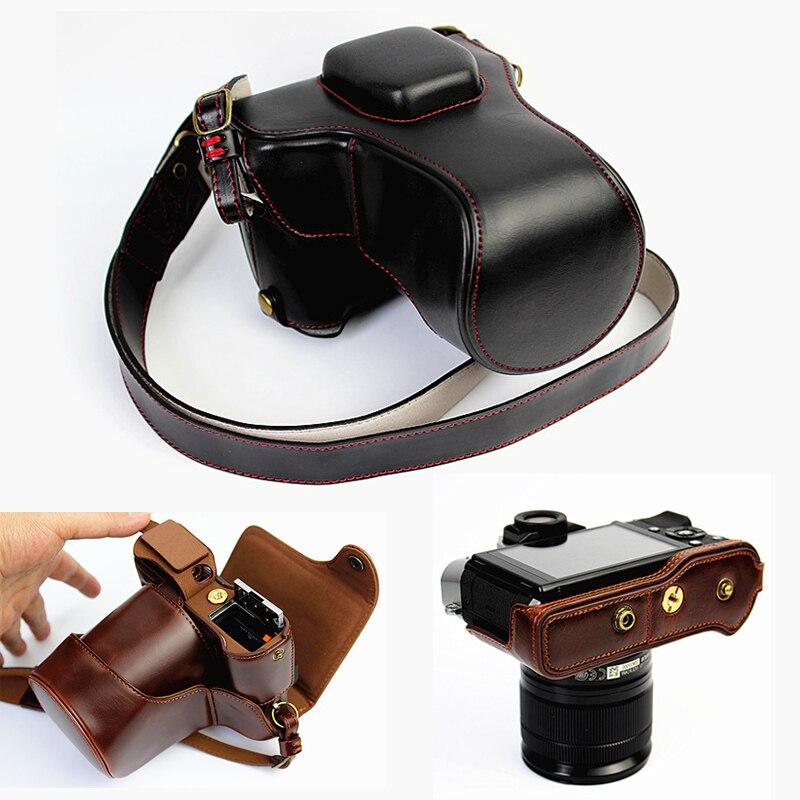 Haute qualité En Cuir PU Camera Case Pour Fujifilm XT20 XT10 Finepix X-T10 X-T20 Caméra Sac Couverture Avec Batterie Ouverture + sangle
