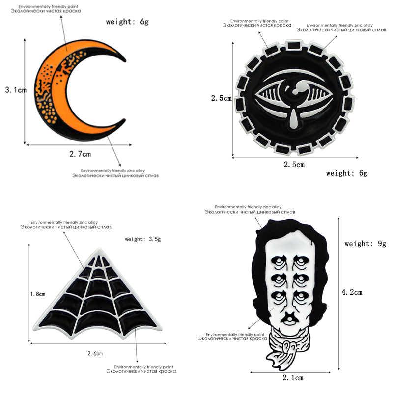 Gesten nacht sky planeten Teufel Eye mond Edgar Allen cobweb Gebrochen glühbirne Wissenschaft experiment flasche Cartoon brosche anzug