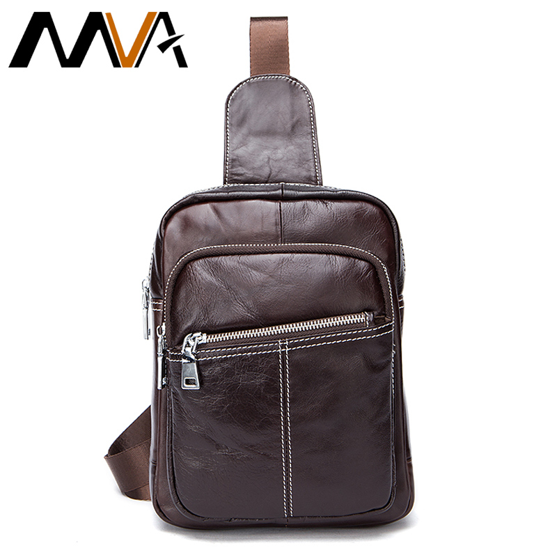 MVA Genuine Leather Bag Men Messenger Bags Brand Small Shoulder Crossbody Bag for Man Belt Waist Pack Men's Leather Chest Bag brand logo new multifunctional genuine leather waist pack for men women bags travel belt bag money pouch