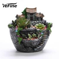 Yefine resina varanda vaso de flores para plantas suculentas decoração do jardim vaso de flores plantador desktop sala micro paisagem Vasos e agricultores     -