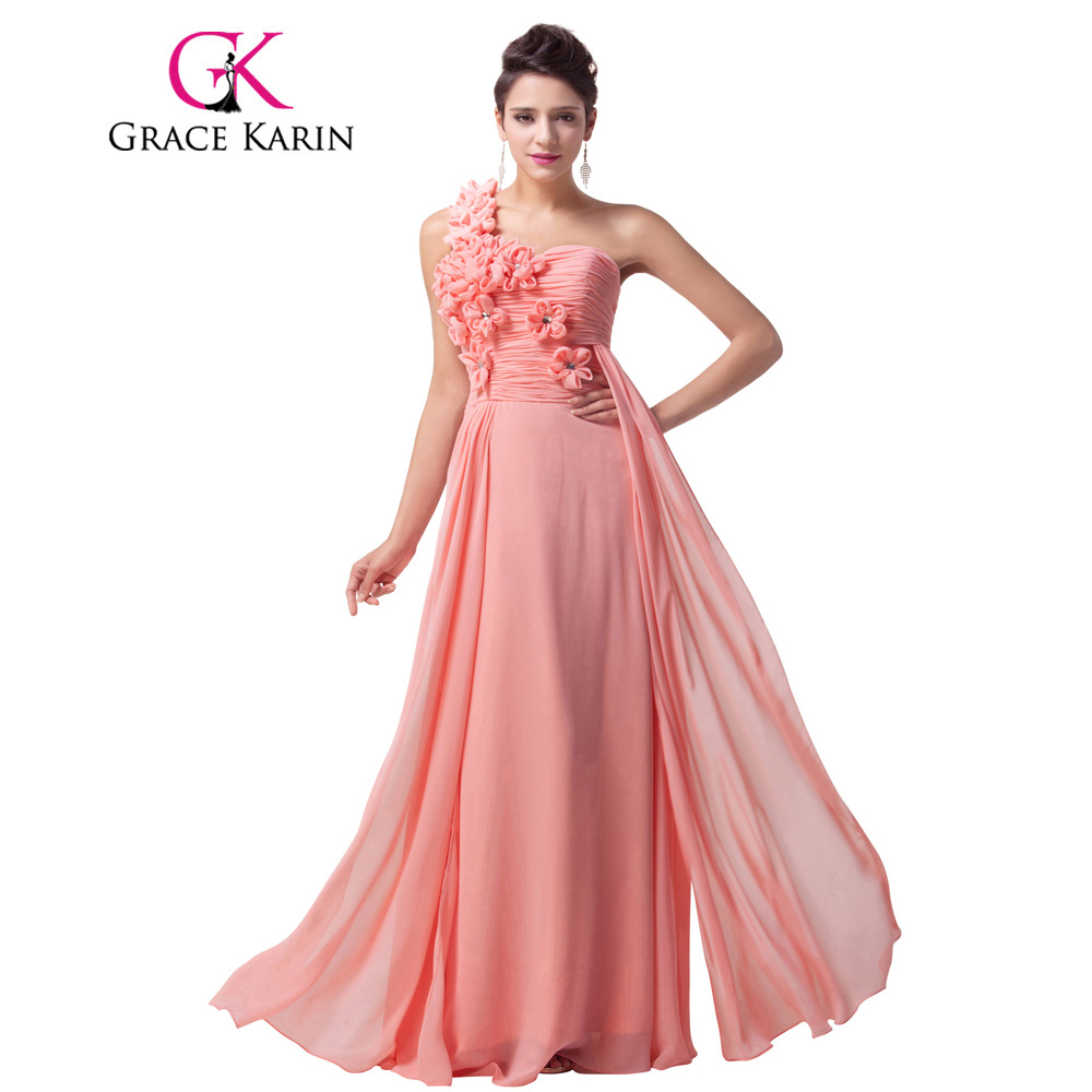 Grace karin prom dress un hombro gasa larga vestidos de noche rosa ...