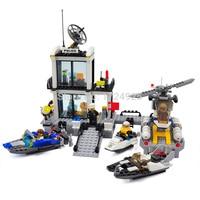 Police Station Kazi 6726 Helicopter Building Blocks Children Toys Sets Model 536pcs Speedboat Educational Toys