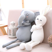 Cute Elephant Rabbit Pillows for Baby Girl Soft Stuffed Animal Toy Baby Bed Cushion Pillow Baby Room Decoration Kids Gift