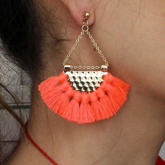 5 colors Bohemia Fan Shaped Tassel Earrings Female Bohemian Exaggerated Fashion