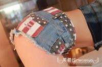 Hot Sexy Mini Shorts Big Size América Calções Bandeira Denim Buracos Culb das mulheres Cintura Baixa Feminino Curto Femme Jean Do Vintage Denim