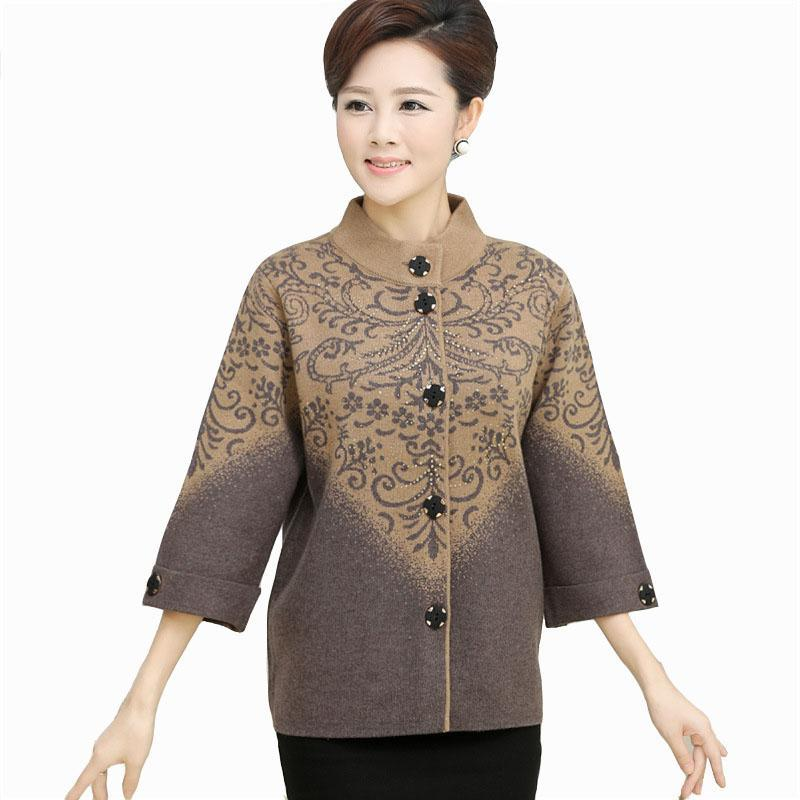 New Women Thickening Sweater outerwear Mother Fifth sleeve Cardigan Plus Size Single-breasted Women Jackets