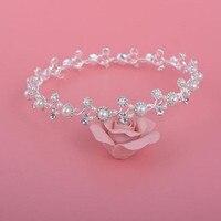 2017 Elegant Crystal Pearls Wedding Tiaras Headbands Handmade Wedding Hair Accessories Bridal Headpiece Made In China
