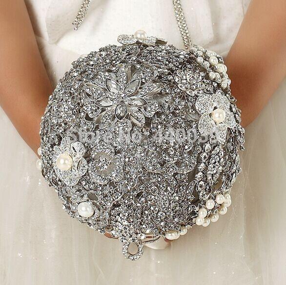 Новое Поступление 2017 Новое поступление Роскошные Потрясающие брошь Кристалл невесты руки Новобрачных свадебный букет,