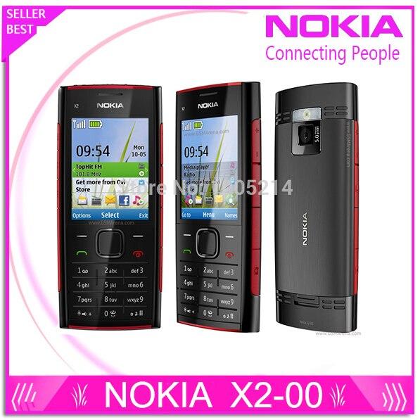 Refurbished X2 Original Nokia X2-00 Bluetooth FM JAVA 5MP Unlocked Mobile Phone Free Shipping