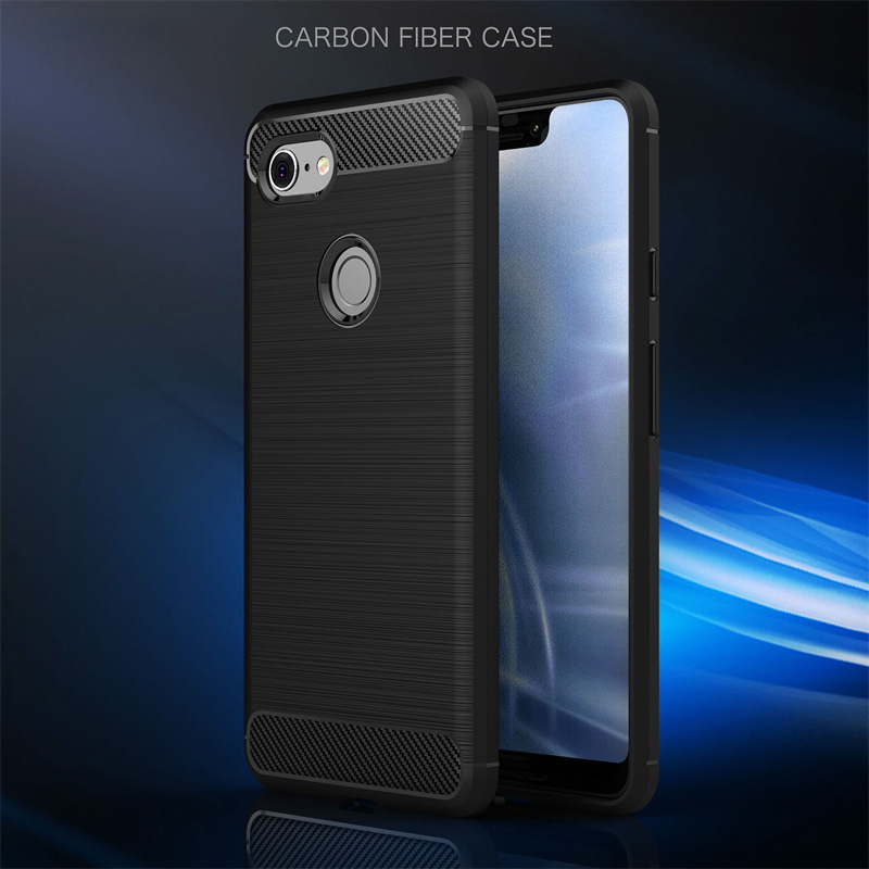 For Pixel 2 2XL Armor Rugged Protect Covers Shell Leather Texture Silicone TPU Coque Case For Google Pixel 3 3XL Case