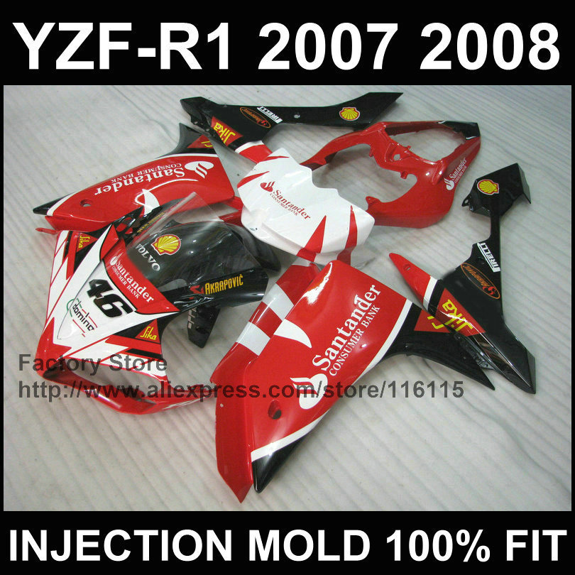 Custom motorcycle injection mold ABS fairings kits for YAMAHA YZFR1 2007 2008 YZF R1 07 08 YZF1000 red santander fairing parts for yamaha yzf 1000 r1 2007 2008 yzf1000r inject abs plastic motorcycle fairing kit yzfr1 07 08 yzf1000r1 yzf 1000r cb02