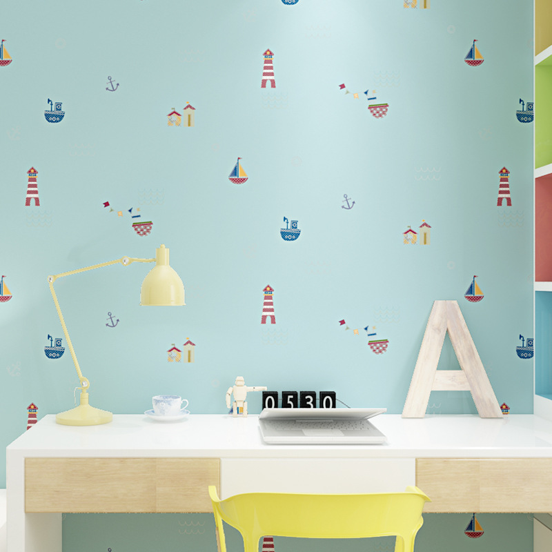 beibehang Modern minimalist cartoon boy bedroom non-woven wallpapers Warm home bedroom girl cartoon decorative wallpapers beibehang warm european bedroom wallpapers 4d stereo nonwovens wallpapers living room tv background wallpapers