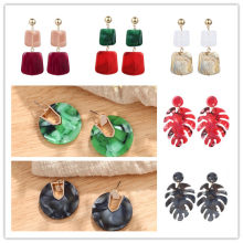 ZA Bohemian Statement Jewelry Geometric Earrings Acrylic Earrings Colorful Leaves Round Circle Earrings For Women Unique Brinco(China)