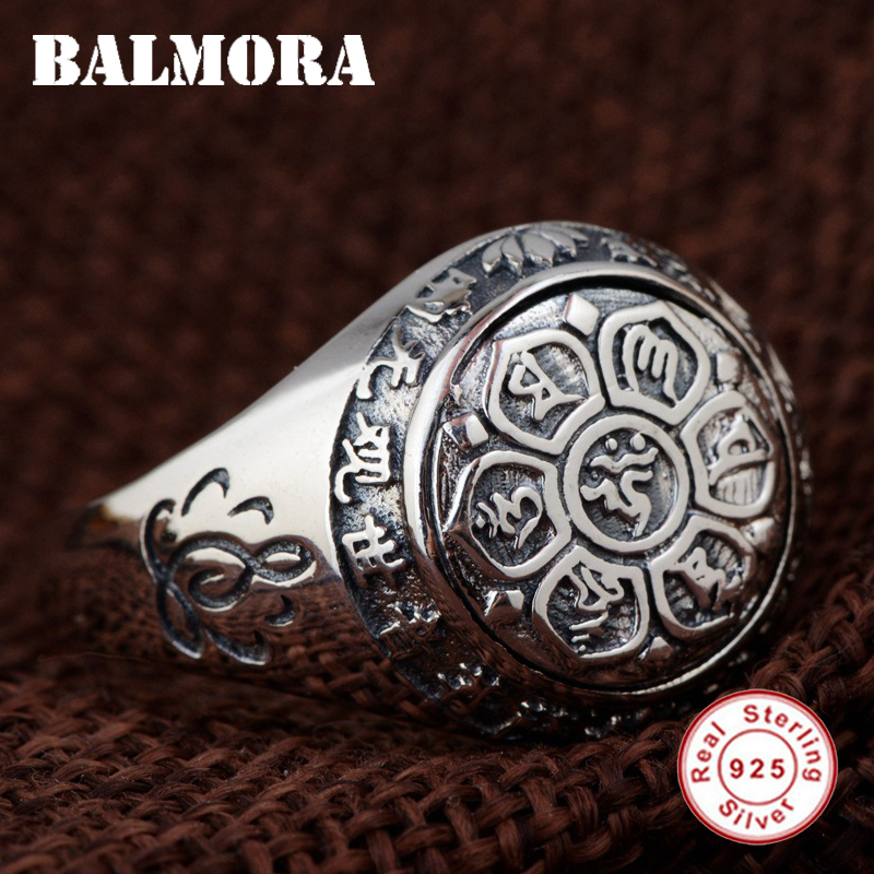 BALMORA 925 Sterling Silver Buddhistic Sutra Open Rings for Women Men Gift Ring Sterling Silver Jewelry Anillos SY22089