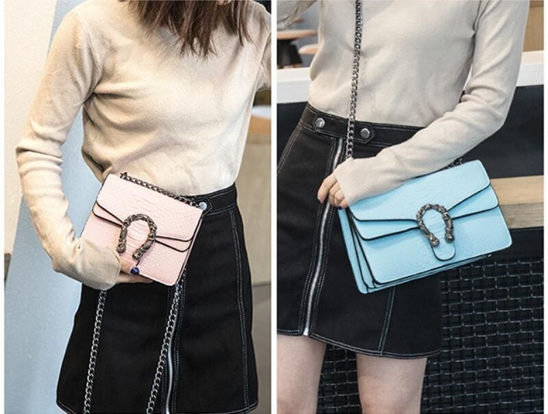 Luxury Handbags Women Bags Designer 2018 Alligator PU Leather Version Of Black Blue Gray Clutches Chains Ladies Crossbody Bags 13