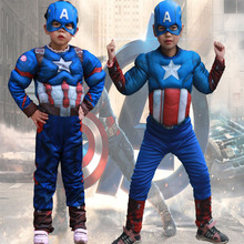 Childrens The Avengers Captain American Perform Show Costume Suit Cosplay For Boys Halloween Masquerade Party Clothes