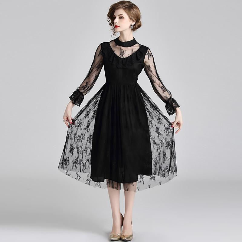 European vintage fashion women black sexy dress new design flower lace made dresses vogue lady outfit vestido party clothes