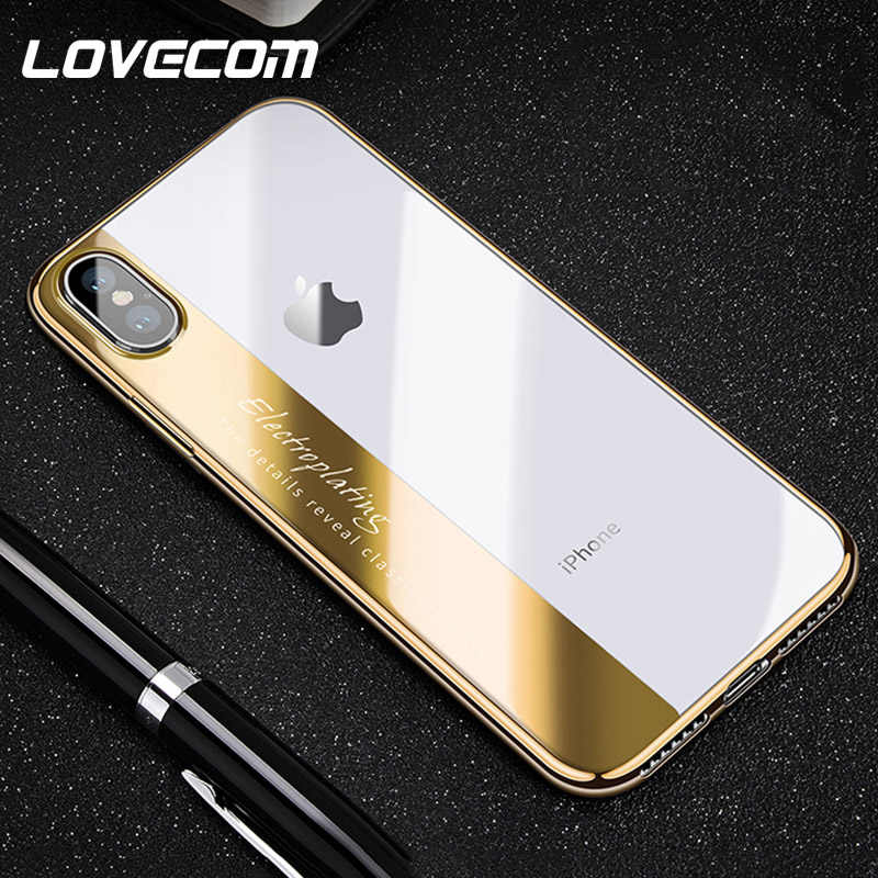 LOVECOM Luxury Fashion Case For iPhone 11 Pro Max XR XS Max X 6 6S 7 8 Plus Soft TPU Electroplate Transparent Letter  Back Cover