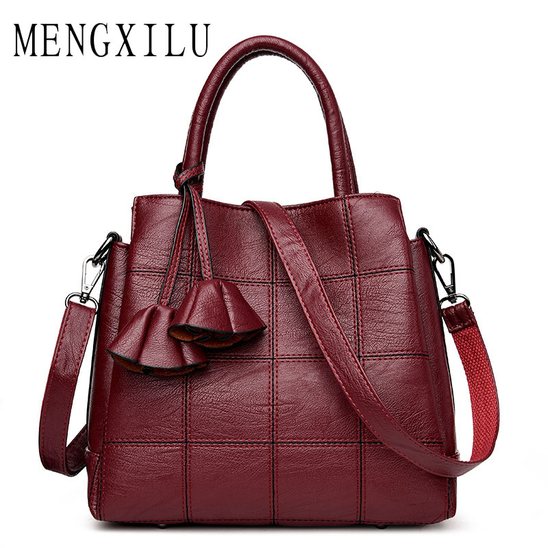 MENGXILU Tassel Women Handbags Pu Leather Shoulder Bags Plaid Rose Female Messenger Bags ...