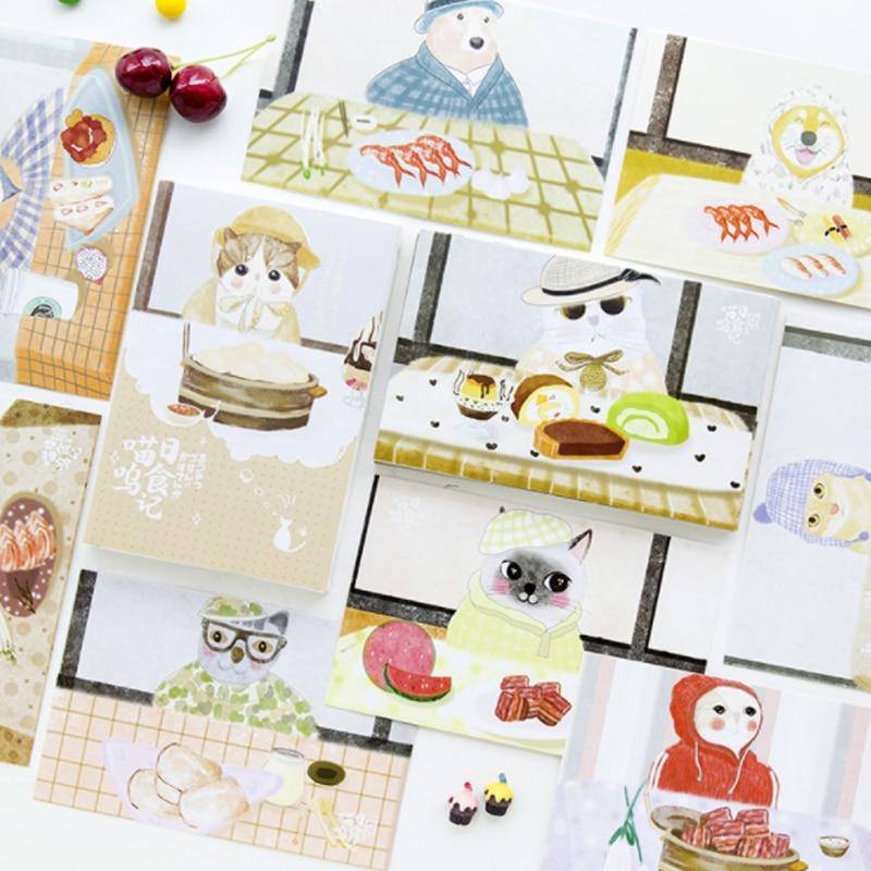 30 Pcs/pack Kawaii Animal Cat Food Postcard Landscape Greeting Card Christmas Card Birthday Card Message Gift Cards
