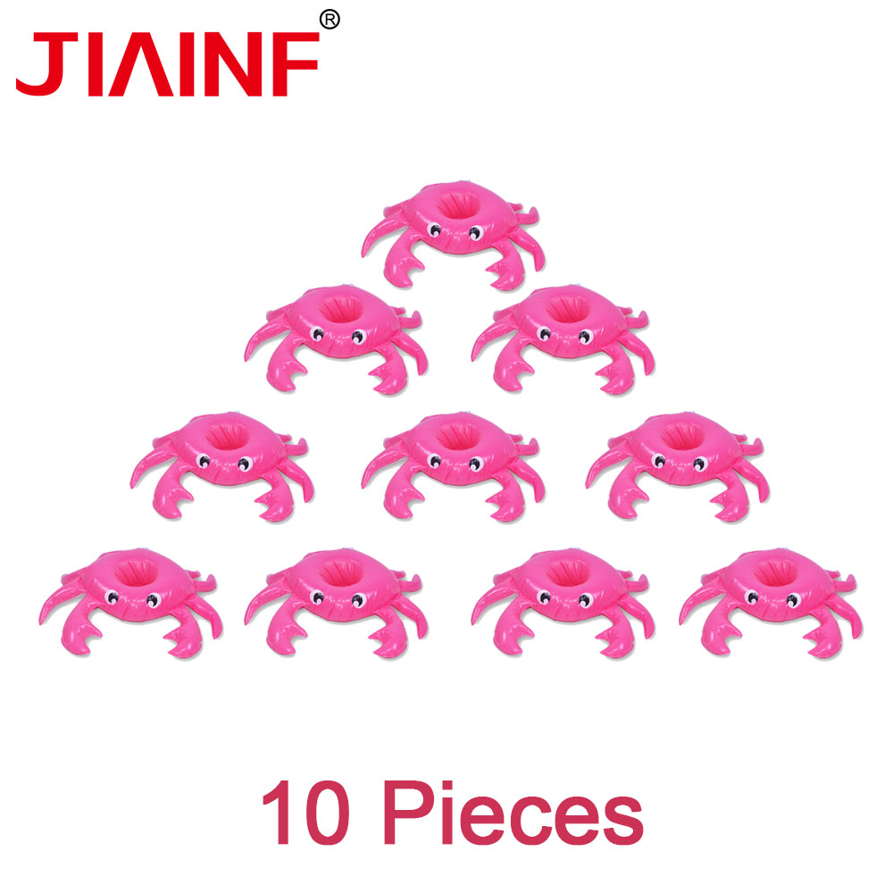 JIAINF Water Toys Pink Crab Drinks Cup Holder PVC Inflatable Pool Buoy Party Decoration Water Recreation Kids Bathing 10pcs/lot