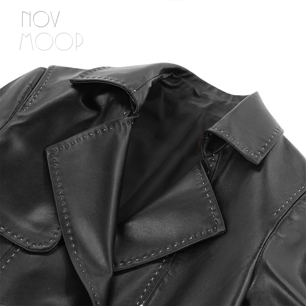 Ceintures Trench coat Outwear Style En Bureau Véritable Casacos Lt1946 Conception Pic Noir Femmes Cuir D'agneau Black vent Per Coupe Longue 74wz6f8zqx