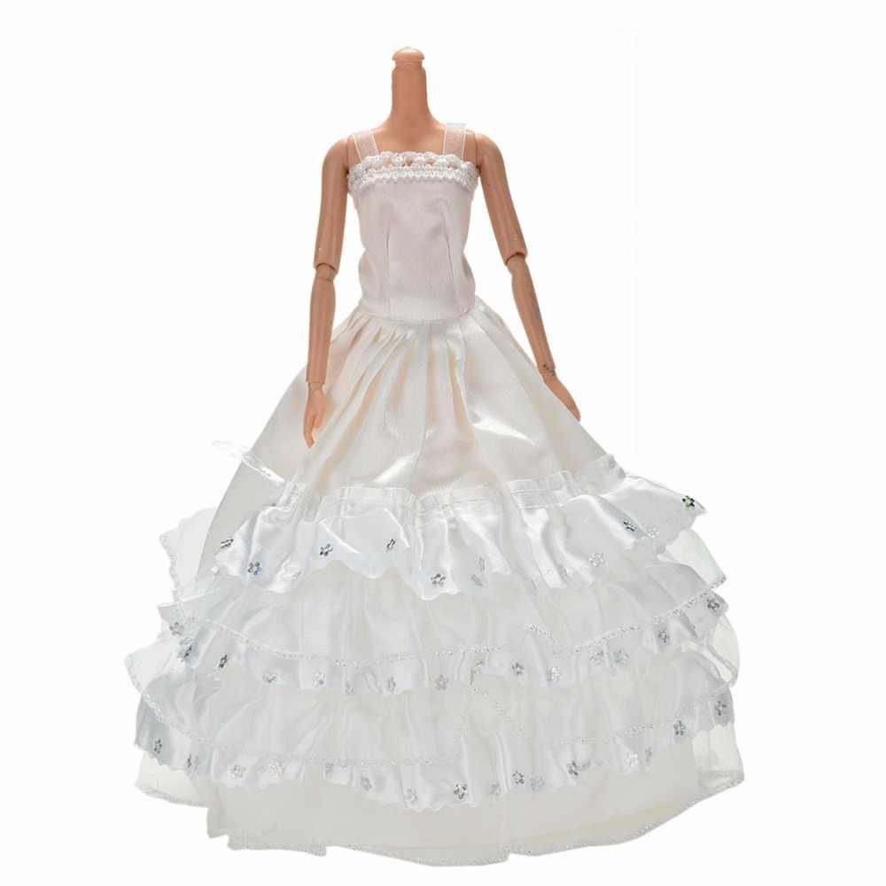 """1 cái Bóng Gown 3 Lớp Ren Ăn Mặc cho Búp Bê TỰ LÀM Đồ Chơi Trẻ Em Dài Wedding Dresses cho 11 """"Búp Bê quần Áo màu trắng"""