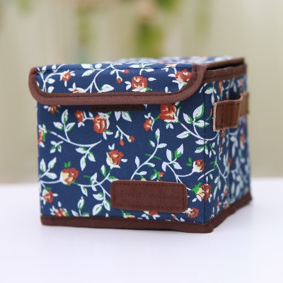 Free shipping BF050 Fashion Fresh floral rose style small storage box foldable canvas box 12 12 12cm in Storage Boxes Bins from Home Garden