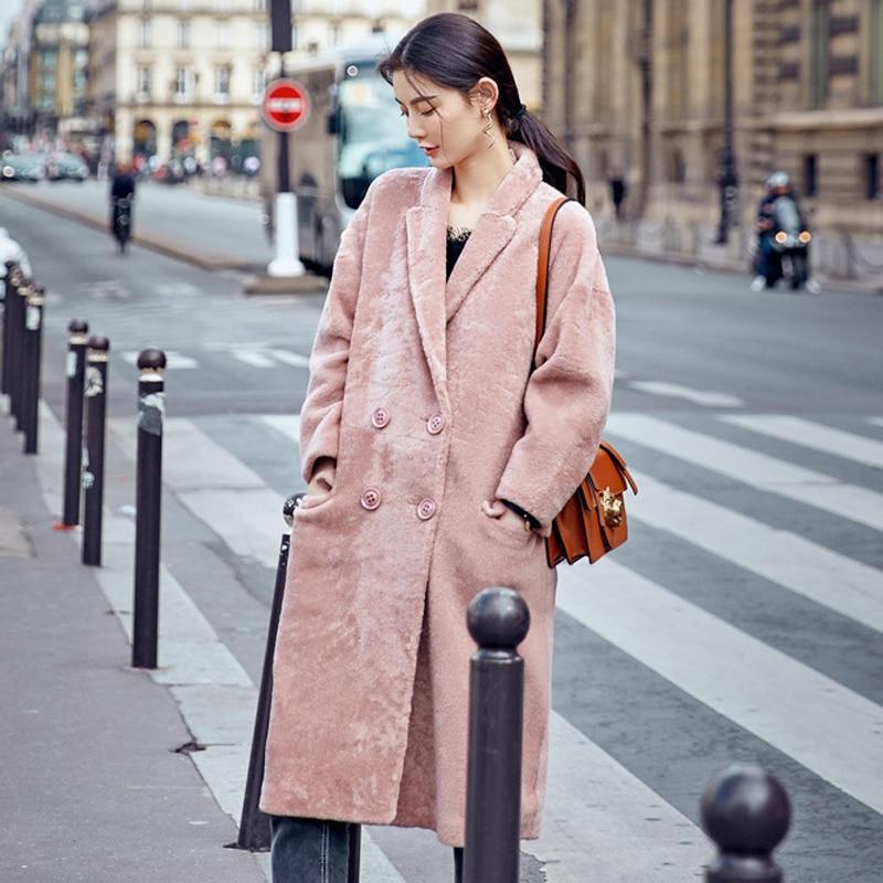 Des Épais Medium Une En Manteau Fourrure Pièce Hiver Femmes Veste Dame Cuir Nouveau Pink Tonte De Réel Rose Moutons H Phoenix Haute Chaud Qualité 70629 6qwYCg