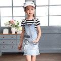 Niñas otoño Nueva Corea Denim Correa Niños Agujero Denim Dress Kids Ropa Azul