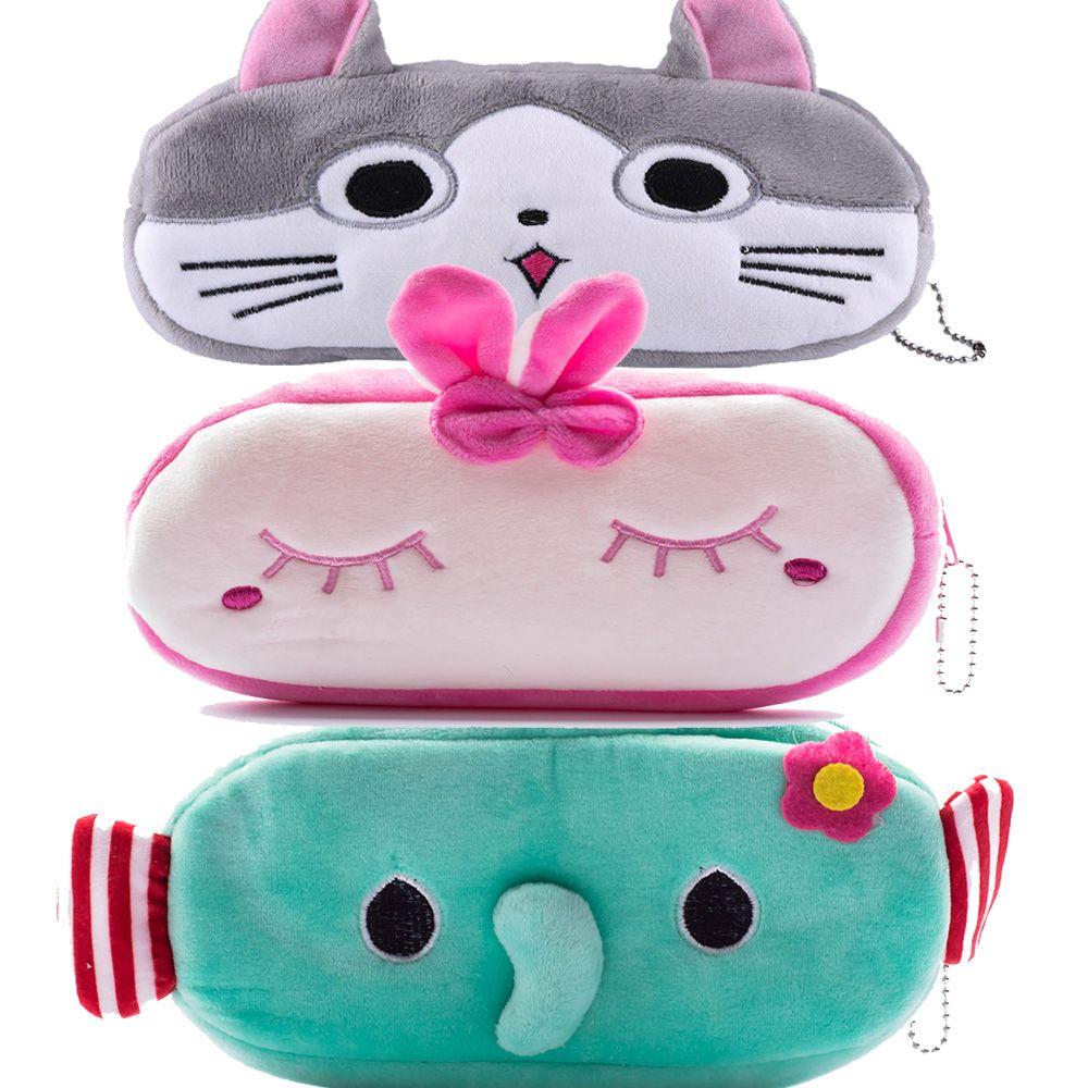 Lovely cats Cartoon Animal Pencil Pen Case Soft Plush Makeup Cosmetic Pouch Bag Zipper