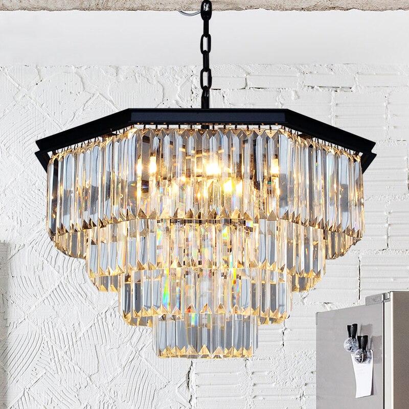ZYY American Nordic Crystal Lustr Retro stropní ventilátor Osmimístný design E14 LED Závěsná lampa Jídelna Osvětlení