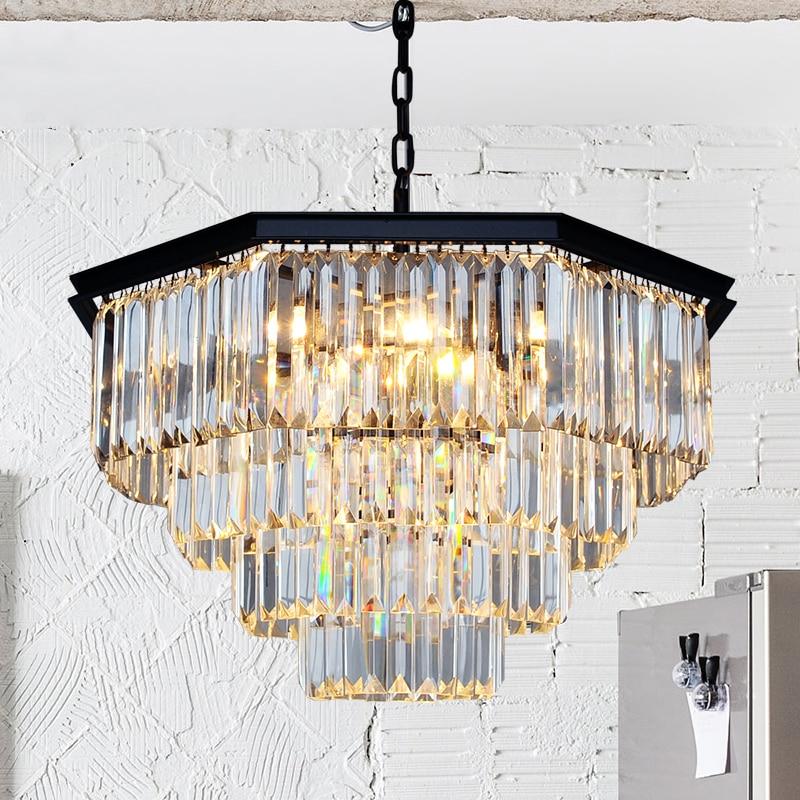 ZYY American Nordic Crystal <font><b>Chandelier</b></font> Retro <font><b>Ceiling</b></font> Fan Eight-square Design E14 LED Hanging Lamp Dining Room Lighting Fixture