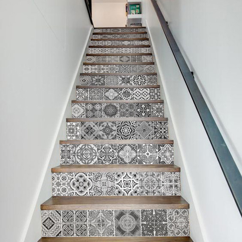ECO-friendly PVC black/white fake DIY stairway sticker Retro ceramics tiles patterns Stairs stickers <font><b>wall</b></font> background decoration