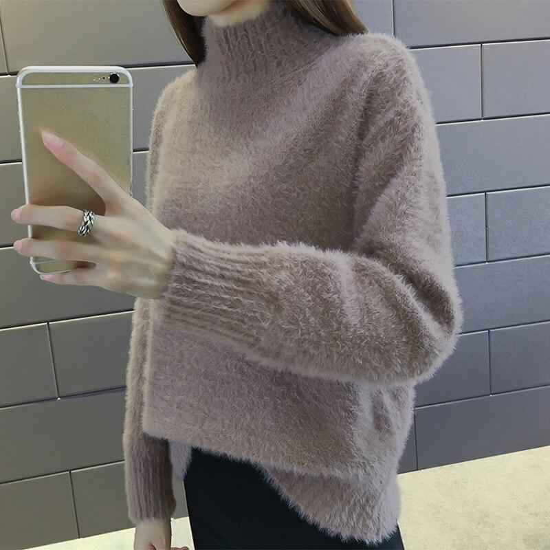 QoerliN Hot Dark Green Sweater Women Autumn Purple Warm Mohair Pullovers Female Turtleneck Long Sleeve Loose Casual Jumper Girls