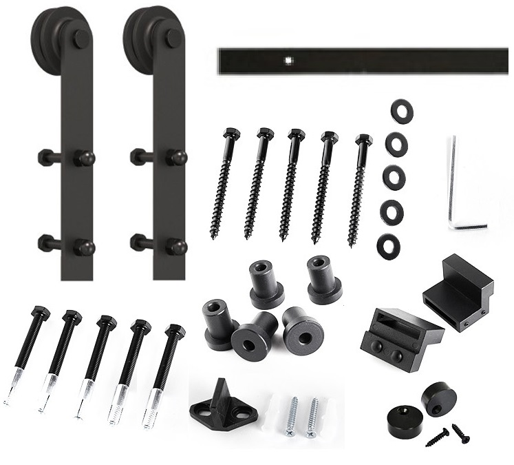 Premintehdw Rail Length=1.83M (6) Whole Set Black Country Barn Sliding Door Roller Rollers Assemblies Hardware AntiquePremintehdw Rail Length=1.83M (6) Whole Set Black Country Barn Sliding Door Roller Rollers Assemblies Hardware Antique