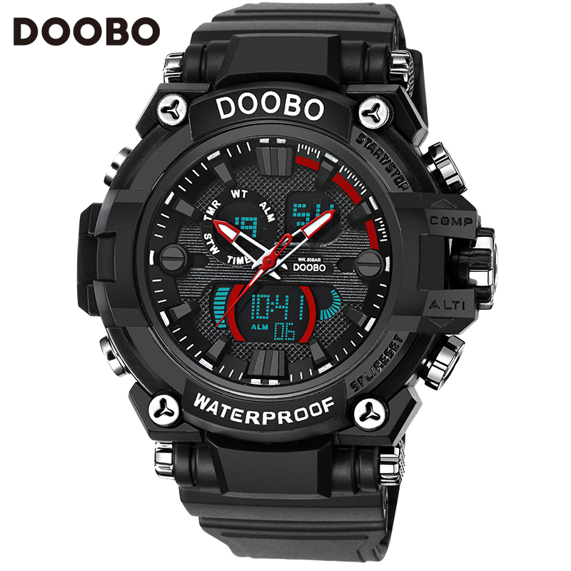 DOOBO Brand Men Quartz Watches Sports Mens Wristwatch Clock Military Waterproof Horloge Mannen Fashion LED Digital Men's Watch free drop shipping 2017 newest europe hot sales fashion brand gt watch high quality men women gifts silicone sports wristwatch
